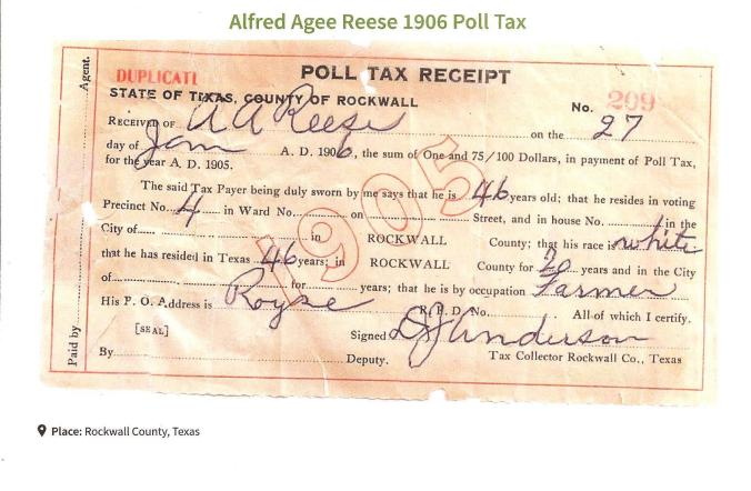 AA Reese Poll Tax Receipt