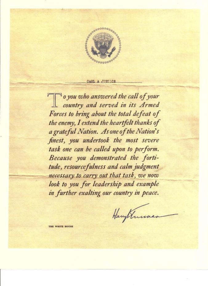 Letter from President Truman